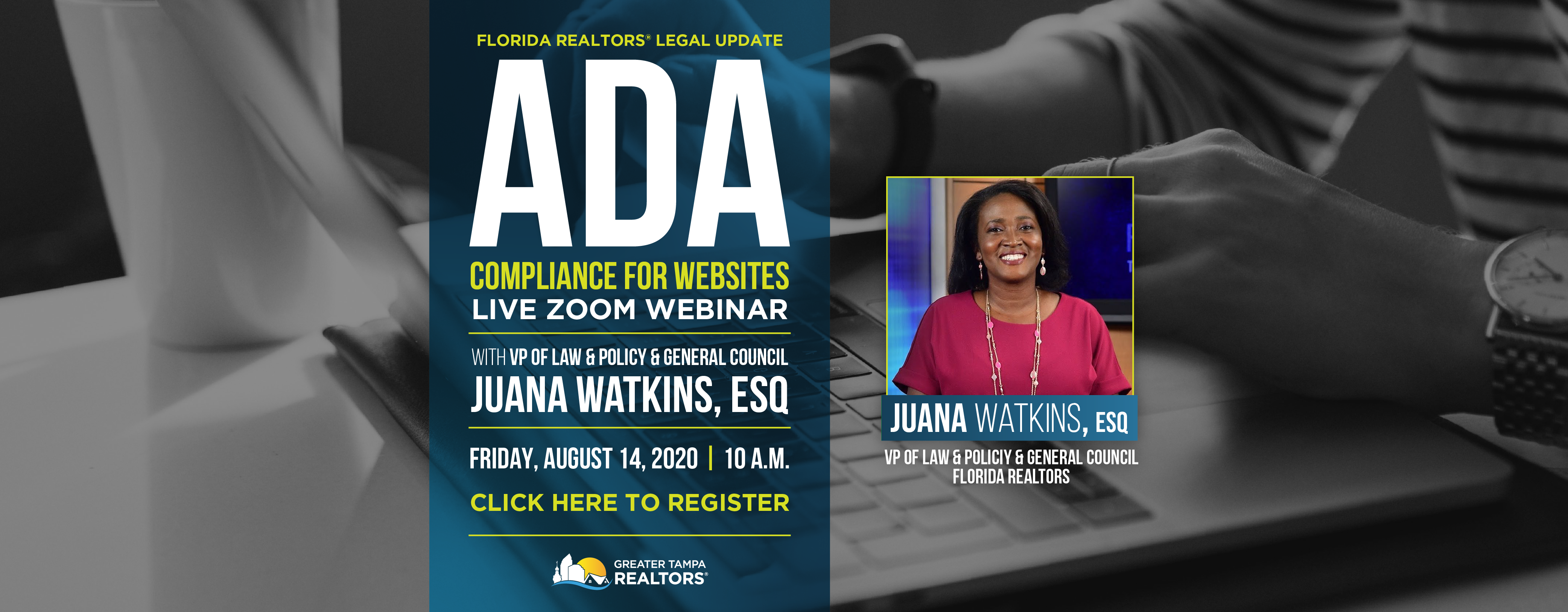 ADA Compliance for Websites Webinar with Juana Watkins on Friday, August 14 at 10 am. Click here to register