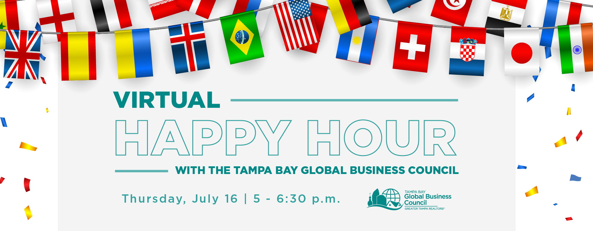 Virtual Happy Hour with the Tampa Bay Global Business Council is Thursday, July 16 at 5 p.m.