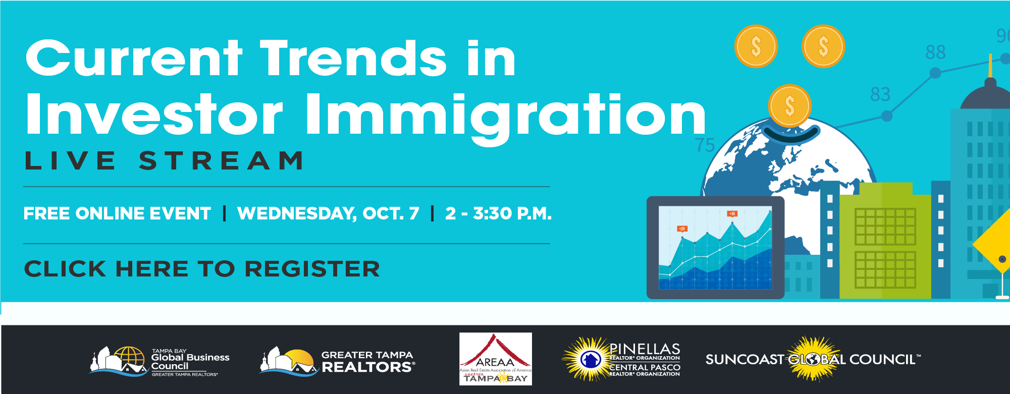 Current Trends in Investor Immigration Live Stream, Free Online Event, Wednesday, Oct. 7 from 2 to 3:30 p.m. Click the image to register