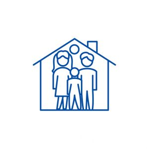 Family house line icon concept. Family house flat vector symbol, sign, outline illustration.